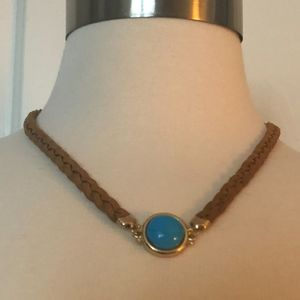 Leather Rope Necklace with Turquoise Stone